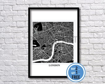 London Map Art print, London Color Map, Color Map Print Art