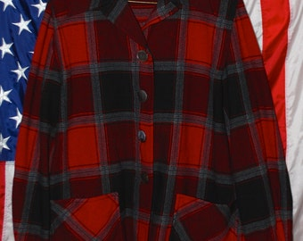 FREE SHIPPING* Vintage Plaid Pendleton 100% Virgin Wool Jacket or Shirt 1950s 1960s red grey black 50s 60s small medium large S M L