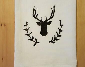 Deer Flour Sack Towel -  Tea Towel - Dish Towel