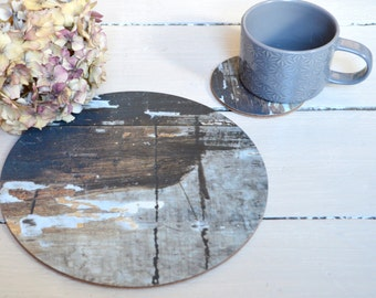Round Placemats / Coasters / Rustic tableware / organic  Placemats / Set Of Four / Natural Kitchenware / Wipeable Placemats / brown / navy