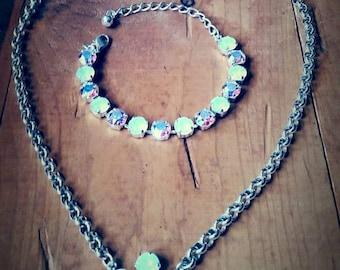 Handmade Daisy Flower necklace & matching bracelet FREE earrings