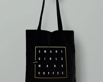Black smart girls make coffee tote bag