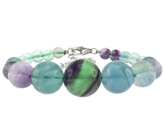6-14mm Round, Fluorite, 6.5 Inches, Journey Bracelet with Sterling Silver Clasp and 2 Inches Extention OPB-4822