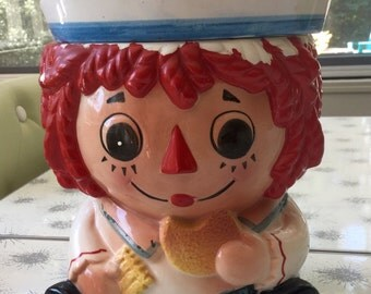 Vintage 1960's Raggedy Ann/Andy Cookie Jar by Napcoware