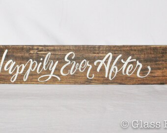 Happily Ever After Wedding Sign, Wedding Sign, Directional Wedding Sign, Custom wedding sign, custom wood wedding sign