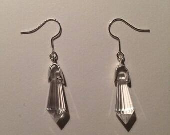 Clear Glass Crystal Teardrop Pendant Dangly Earrings