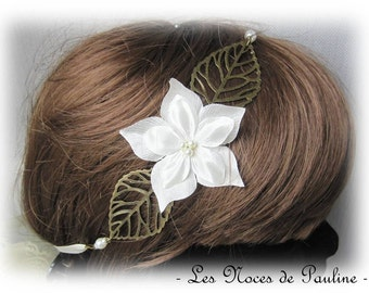 Headband wedding ivory Satin sheet Tina
