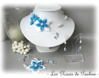 Ornament wedding turquoise and white flowered satin Julia 3 parts