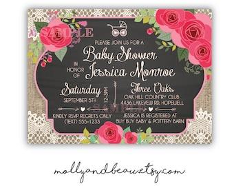 Pink Roses Baby Shower Invitation, Pink Rose Chalkboard Barnwood Invitation, Pink Roses, Vintage Lace, Shower Invites, Elegant Baby Shower