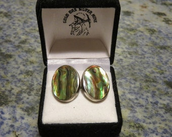 Vintage Sterling and Abalone Cufflinks from New Zealand