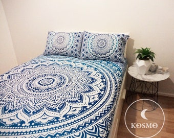 Queen size blue bohemian ombre mandala throw tapestry