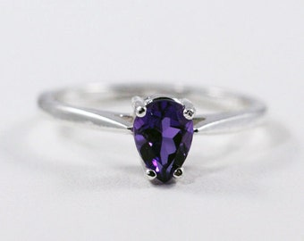 Sterling Amethyst Pear Ring, 925 Sterling Silver, February Birthstone Ring, Purple Amethyst Sterling Pear Ring, Silver Amethyst Ring