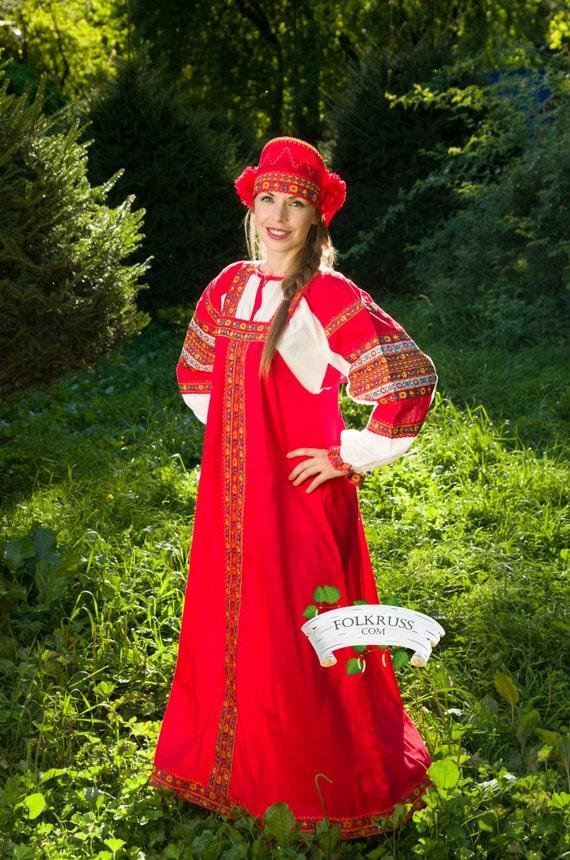 Russian traditional slavic dress Dunyasha for woman / Cotton russian dress / Sarafan