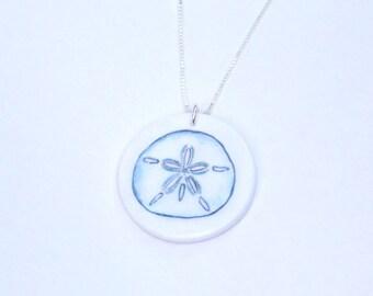 Sand dollar necklace, sand dollar pendant, beach necklace, blue necklace, seashore necklace, seashell necklace, ocean necklace, sand dollar