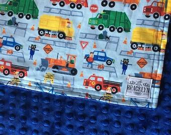 Baby Minky Trucks Blanket