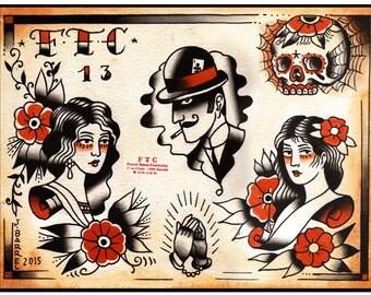 "Tattoo Flash ""MOUSTACHE"" Johnny BARREL"