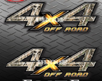 4x4 Off Road Obliteration Skull Camo Camouflage Truck Bed Vinyl Decal Sticker - PAIR