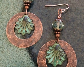 Dangle earrings-copper earrings-copper jewelry-patina jewelry-verdigris patina-natural jewelry