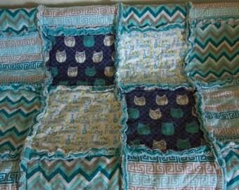 Baby boy owl rag quilt