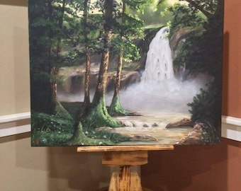Woodland waterfall landscape scene oil painting