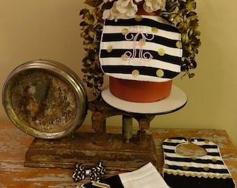 Stripe and chevron bib, burp cloth, and hair bow set