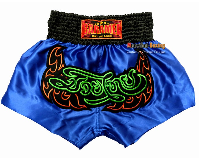 Muay Thailand Boxing Shorts for Training and Sparring Boxing Trunks Martial Arts - BLUE