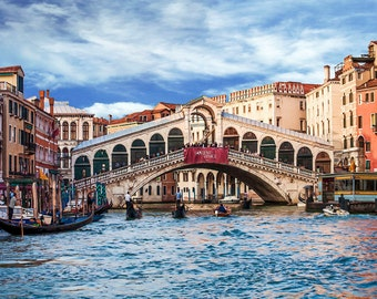 Rialto Bridge,  Venice Italy, Rialto Bridge Blue Sky, Rialto Bridge Gondola's, Venice Wall Decor, Italy Art, Fine Art Photography, Art Print