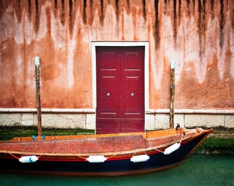 Venice Italy, Boat In Canal, Very Textured Wall, Red Door, Drippy Look, Italy Travel, Wall Decor