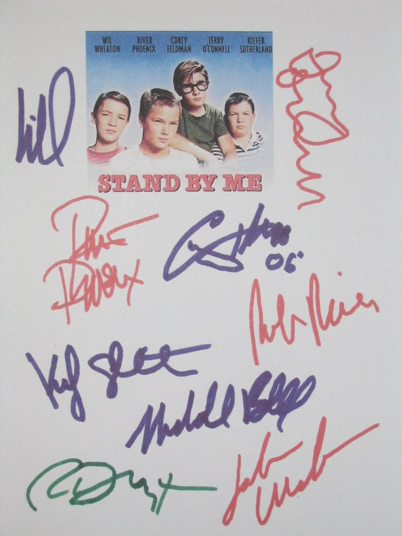 Stand By Me Signed Movie Film Script Screenplay X9 Autographs River Phoenix Wil Wheaton Corey Feldman Jerry O'Connell Kiefer Sutherland