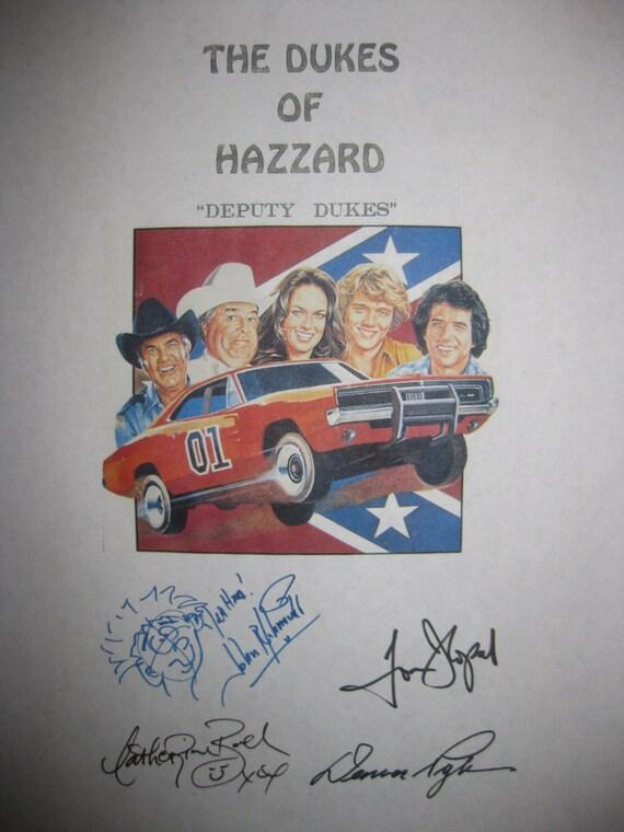 The Dukes of Hazzard Signed TV Script Screenplay Autographs Signatures Tom Wopat John Schneider Catherine Bach Denver Pyle Deputy Dukes