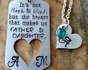 Personalized stamped step-dad keychain set. Stepfather gift. Father daughter first fathers day. Custom step-dad gift. Daddy daughter gift.