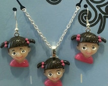 "Monster Inc Boo Little Girl Necklace & Earrings 13""/14""/15""/16""/17""/18""/19"" chain Silver Plated Lobster Clasps / Magnetic Clasps"