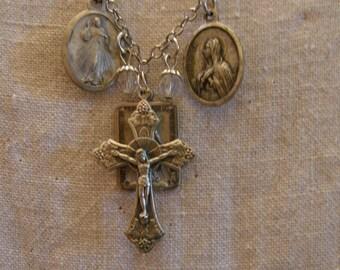 Religious Jewelry, Religious Necklace, Crucifix Necklace, Vintage Religious Jewelry, Assemblage Jewelry, Religious Medal Jewelry