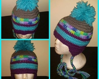 Adult Crochet hat with Earflaps