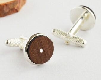 Brown Wood Cufflinks Silver Cuff links Laser Cut Swarovski Wood Swarovski Cufflinks Wood Silver Cufflinks MF Lasercut Jewellery Gift Him