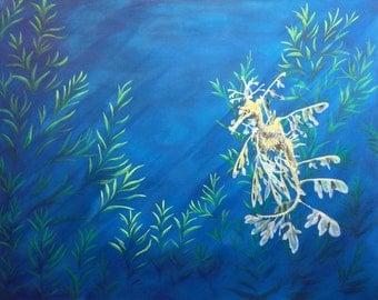 Leafy Seadragon Wildlife Portrait Painting by Jennifer Burke - Medium(24x30), Ocean, Fish, Seahorse, Fine Art