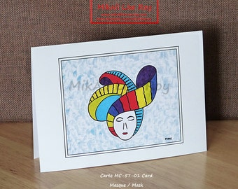 Mask Illustration card, glossy cardboard, no text, size 12.7 x 17.7 cm. Gifts, decoration, inspiration. A pleasure to offer or for yourself!