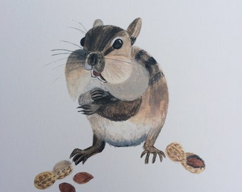 Hungry Chipmunk Watercolor Painting