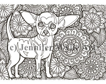 chihuahua adult dog coloring page colouring coloring book printable adult coloring hand