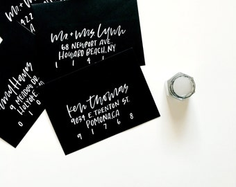 Black and White Watercolor Hand Lettered Envelope Calligraphy | Custom | Wedding Envelopes | Party | Addressing | Save the Dates Watercolor