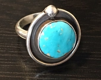 Sterling  Silver & Turquoise Ring, Size 7.  Handmade.