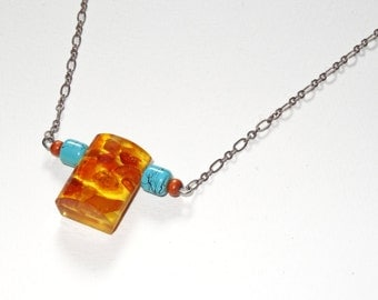 Amber Pendant Necklace with Turquoise Colored and Wooden Beads