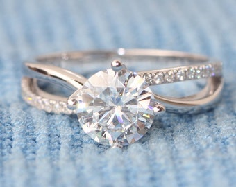 1ct Round Forever Brilliant Moissanite Engagement ring,14k White gold,diamond Wedding Band for women,Twisted curved loop,Custom ring