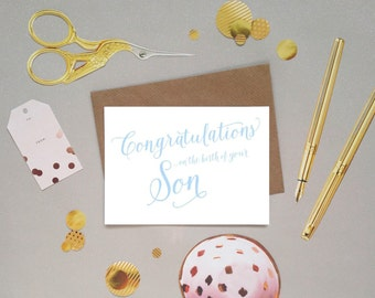 Congratulations on the birth of your Son / New Baby / Baby Boy card in beautifully handwritten calligraphy lettering, UK