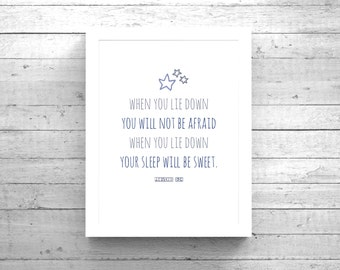 Scripture Wall Art + Bible Verse Proverbs 3:24 Instant Download