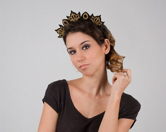 Orchid Black and Gold Headpiece