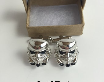 Mens Storm Trooper Cufflinks- Star Warsa Inspired- Wedding, Gift
