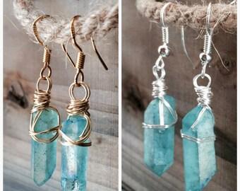 Natural quartz earrings, Aqua Aura Crystal earrings, Quartz earrings, healing crystal earrings, crystal earrings, wire wrap earrings