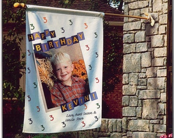 Personalized Hanging Outdoor Kids Birthday Flag | The Enchanted Envelope