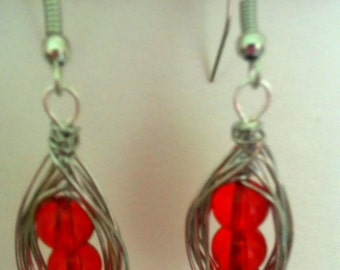 Red crystal Peas in a Pod Earrings